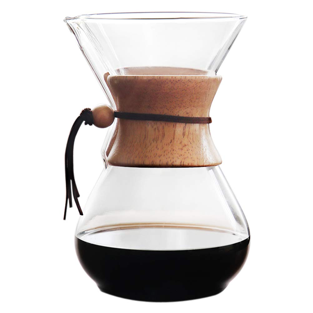 Tebery Pour Over Glass Coffee Maker with Wood Sleeve for Espresso,Coffee and Juice (800ml, 6cups)