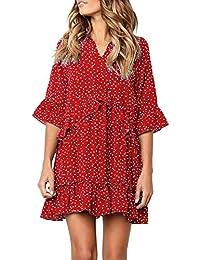 150444cc97a Dresses for Women V Neck Ruffle Polka Dot Loose Swing Casual Short T-Shirt  Dress