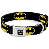 "Buckle Down Seatbelt Buckle Dog Collar - Batman Shield Black/Yellow - 1"" Wide - Fits 11-17 Neck - Medium"