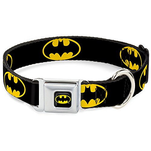 Dog Collar Seatbelt Buckle Batman Shield Black Yellow 11 to 17 Inches 1.0 Inch Wide