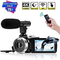 4K Camcorder Digital Video Camera WiFi Vlogging Camera...
