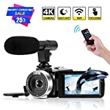 """4K Camcorder Digital Video Camera WiFi Vlogging Camera Camcorders with Microphone Full HD 1080P 30FPS 3"""" HD Touch Screen Vlog Camera for YouTube with IR Night Vision and Remote Control"""