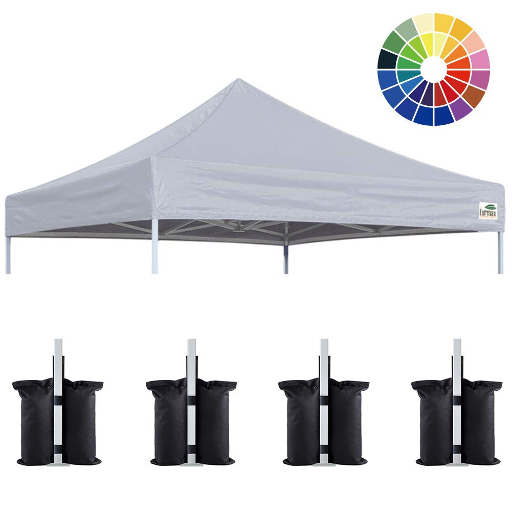 Eurmax New 10×10 Pop Up Canopy Replacement Canopy Tent Top Cover, Instant Ez Canopy Top Cover ONLY, Choose 30 Colors Gray