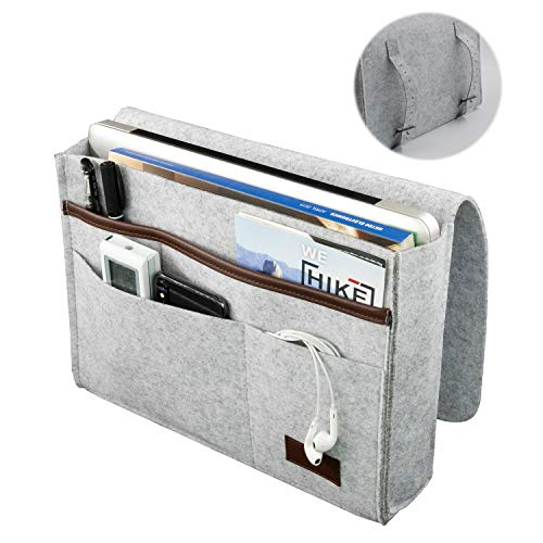 MMH Bedside Caddy, Felt Bedside Storage Organizer Anti-Slip Hanging Cabinet Bed Caddy with Pockets Magazine Phone iPad Glass Holder for Home Bed Rails, Sofa, Bunk Beds and Dorm Room (The Best Dorm Rooms)