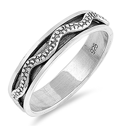 Sterling Silver Oxidized Textured Wave Spinner Ring - Size 10 -