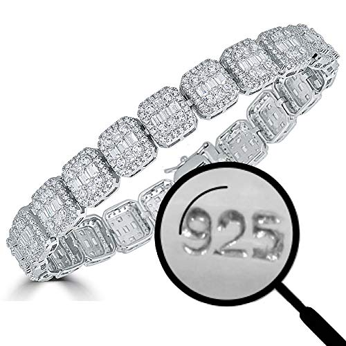 Harlembling Solid 925 Sterling Silver Men's Iced Out Baguette Bracelet - Heavy 11mm 38.5g - ICY 8.5