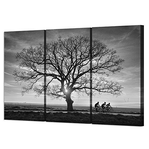 VVOVV Wall Decor - 3 Piece Canvas Wall Art Print Sunset Poster Large Tree Branches Painting Modern Landscape Canvas Prints Road Racing Bicycle Pictures Black And White Artwork