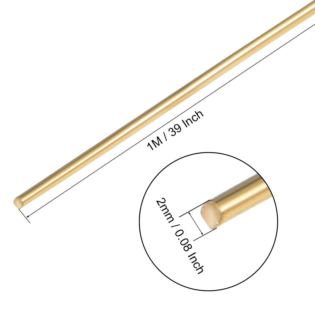uxcell Filler Rods Brass 1.2mm x 39 Inch TIG Welding Rod Wire Brazing Rods