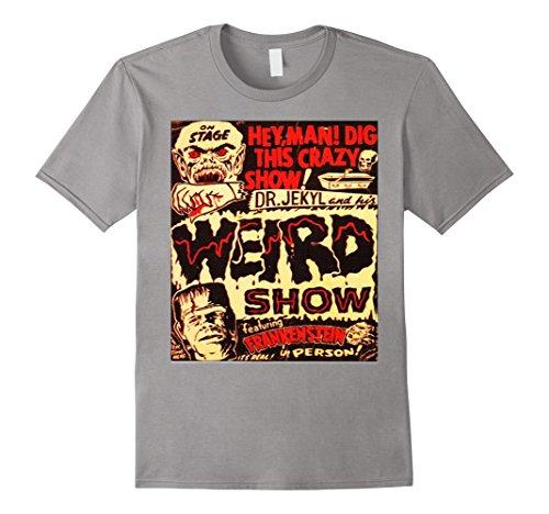 Mens Halloween Frankenstein Dr. Jekyll Vintage Poster T- Shirt Large Slate