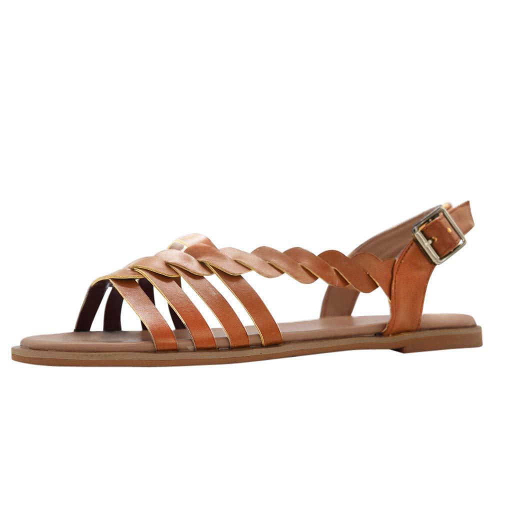 ASHOP - Chaussures femme Mode Féminine Tissage Bande Transversale Boucle Tressé Sandales Coussinées Chaussures Romaines Chaussures Plates Rétro Madame Plage De La Mer Chaussures Simples Été