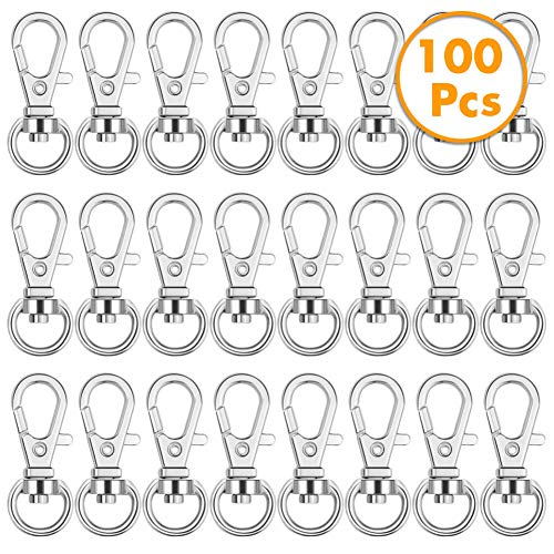 Anezus 100Pcs Key Chain Clip Hooks Swivel Lanyard Snap Hook Keychain Hooks for Lanyard Key Rings Crafting