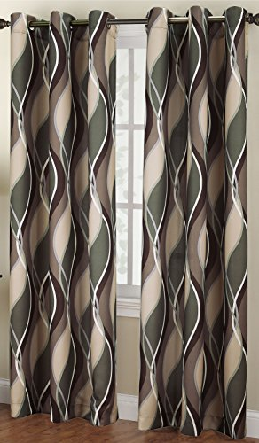 No. 918 Intersect Wave Print Casual Textured Curtain Panel, 48″ x 84″, Spruce Green
