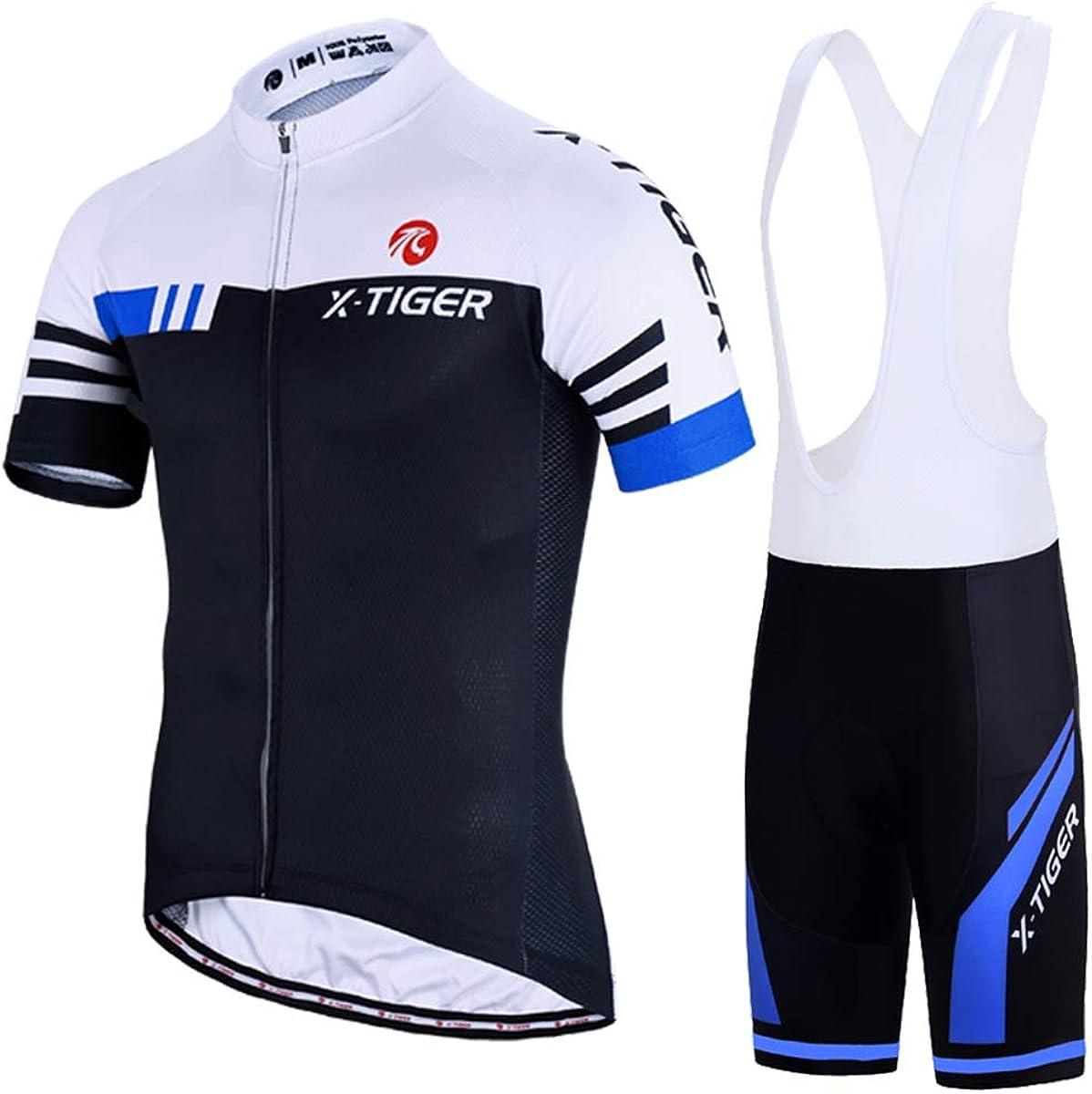 X-TIGER Hombres de Bicicleta con 5D Gel Acolchado MTB Ciclismo Maillots Tirantes Culotte Pantalones Cortos Culotes