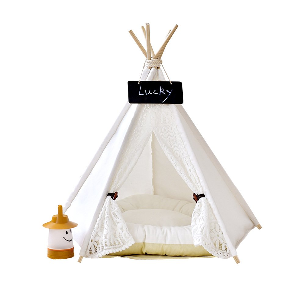 Pet Teepee Dog & Cat Bed - Dog Tents & Pet Houses With Cushion & Blackboard , 28 Inch , Up to 30lbs ,White,Lace Style