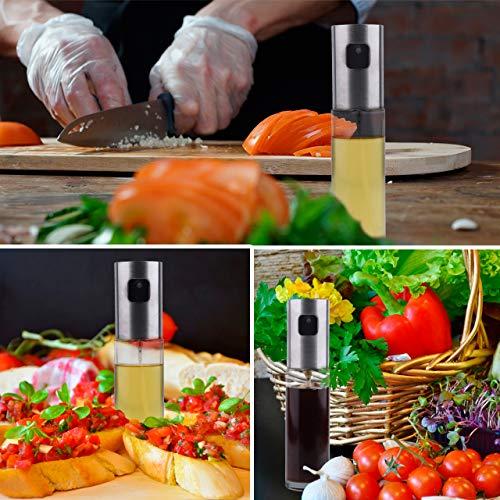 Olive Oil Sprayer Bottle –Bundled with Oil Brush, Funnel and Cleaning  Brush, Stainless Steel Dispenser Glass Cooking Oil Sprayer Spritzer for  Vinegar