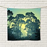smallbeefly Nature Hand Towel Mist Forest Scenery with Tree Tops at Sunset Hazy Woodland Rural Landscape Quick-Dry Towels Hunter and Green Size: W 20'' x L 39''