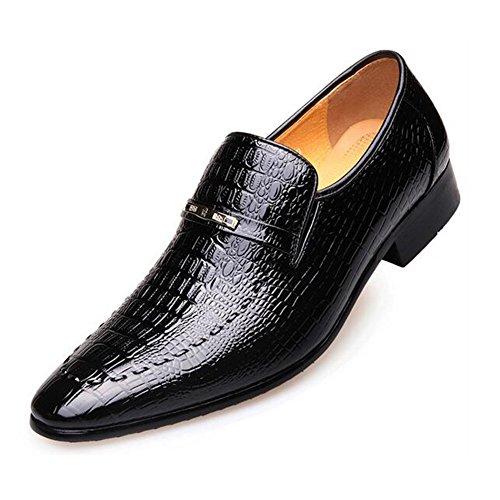 Chaussures formelles en cuir pour hommes texturé Uppers mariage bout pointu chaussures à lacets formel travail d'affaires GLSHI Black bvyW9O8Qqt