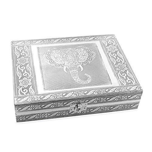 Handcrafted Aluminium Elephant Wisdom Embossed Jewelry Organizer Box Storage 9x2x7