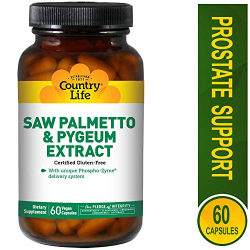 Country Life Saw Palmetto & Pygeum Extract - 60 Vegan Capsules - May Help Support Prostate Health - Gluten-Free