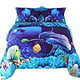 Wowelife Fish Bedding Sets 3D Dolphin Sea World Duvet Cover Set 4 PCS for Teens and Adults(Queen)