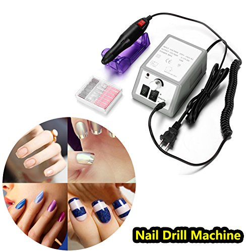 Tomasar Professional 20000 RPM Nail Drill Machine Electric Finger Toe Manicure Pedicure Kit Gel Nail Grinder Tool Low Heat Low Noise Low Vibration (Gray)