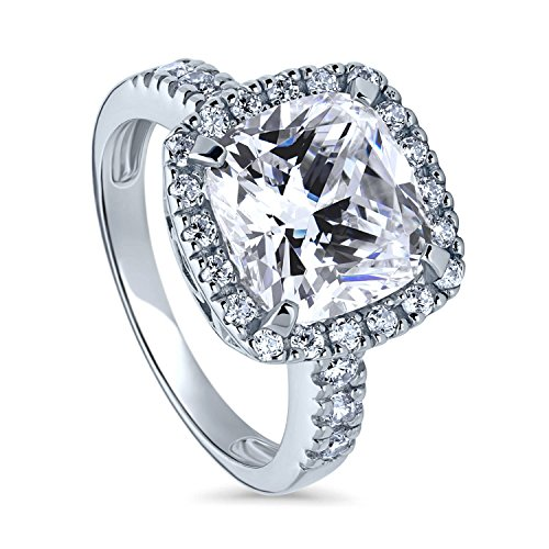 (BERRICLE Rhodium Plated Sterling Silver Cushion Cut Cubic Zirconia CZ Halo Engagement Ring Size 9)