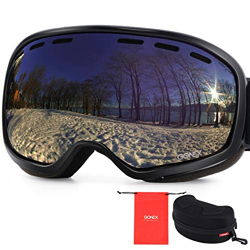 Gonex Ski Goggles, Anti Fog 100% UV Protection Snow Goggles for Teens & Adults with Case Large Size Black Frame Blue Lens