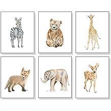 Nursery Art Nursery Decor Nursery Prints Set of 6, Baby Animal Wall Art, Children's Watercolors, Elephant Giraffe Zebra Bear Deer Fox