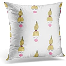 Golee Throw Pillow Cover Colorful Cool of Hand Draw Quirky Kid with Pink Bubble Gum Cute Girl with for or Design Balloon Beautiful Decorative Pillow Case Home Decor Square 18x18 Inches Pillowcase