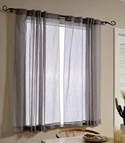 Mysky Home Back Tab and Rod Pocket Window Crushed Voile Sheer Curtains for Office Room, Grey, 51 x 63 inch, Set of 2 Crinkle Sheer Curtain Panels (Back Tab Sheers)