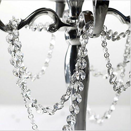 Accesorio decorativo colgante de Musuntas de 5 m para bodas y Navidades con cuentas de cristales octogonales acrílicos transparentes de 14 mm. Guirnalda de tiras de 5 mm