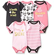 Luvable Friends Baby Infant Basic Bodysuit, 5 Pack, Worth The Wait, 6M(3-6 Months)