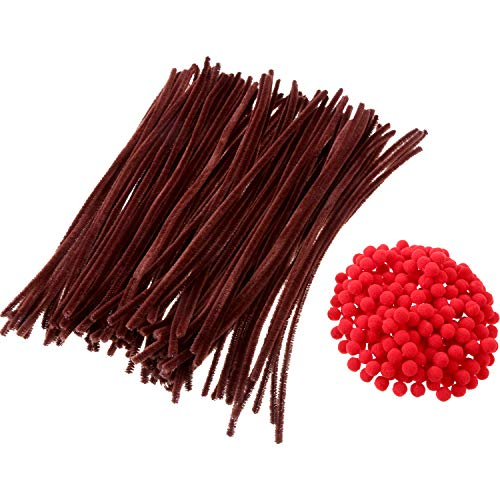 Sumind 200 Pieces Red Pom Poms Fluffy Pompoms and 100 Pieces Brown Pipe Cleaners Chenille Stems for Christmas Crafts DIY Making