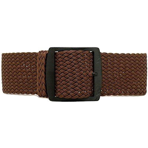 DaLuca Braided Nylon Perlon Watch Strap - Brown (PVD Buckle) : 24mm