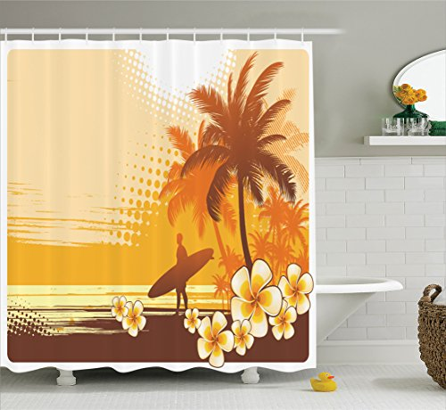 Surf Decor Shower Curtain Set By Ambesonne, Silhouette Of A Surfer And Tropical Landscape Free Your Mind Artsy Illustration, Bathroom Accessories, 69W X 70L Inches, Yellow Brown (Surfer Shower Curtains)