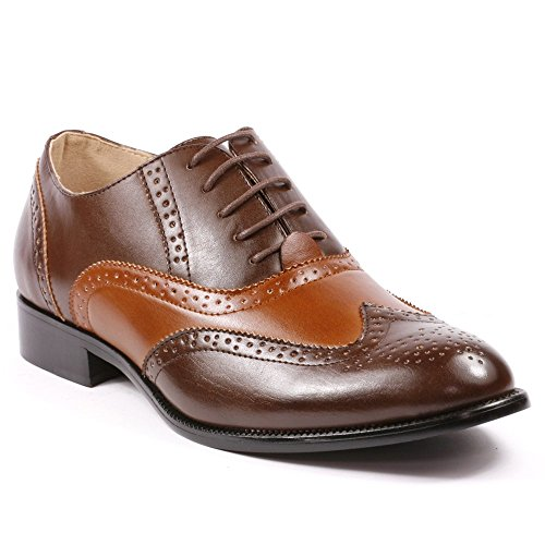 Magestik Men's Two Tone Cognac Brown Perforated Wing Tip Lace Up Oxford Dress Shoes (6)