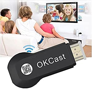 [Upgraded] Miracast Dongle, Foxcesd 2.4G Wireless Display Stick HDMI Adapter Receiver Streaming Media Share Videos Images Docs from iPhone, iPad, Samsung Android Smart Devices to TV, Monitor or Beamer