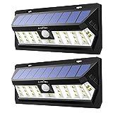 Litom 30 LED Bright Solar Motion Sensor Light Outdoor Wall Light Adjustable Lighting Time Waterproof for Garden Yard Patio 2 Pack