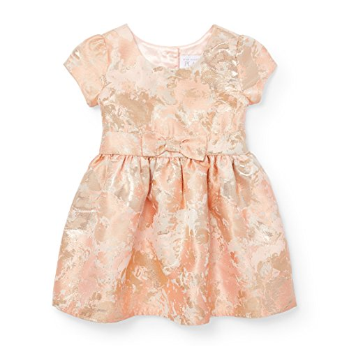 The Children's Place Baby Girls' Little' Gold Bow Jacquard Dress, Multi CLR 91323, 5T