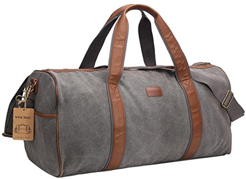 22'' Large Canvas Travel Duffel Bag For Mens Womens Overnight Weekend Bag Grey (Garments 22')