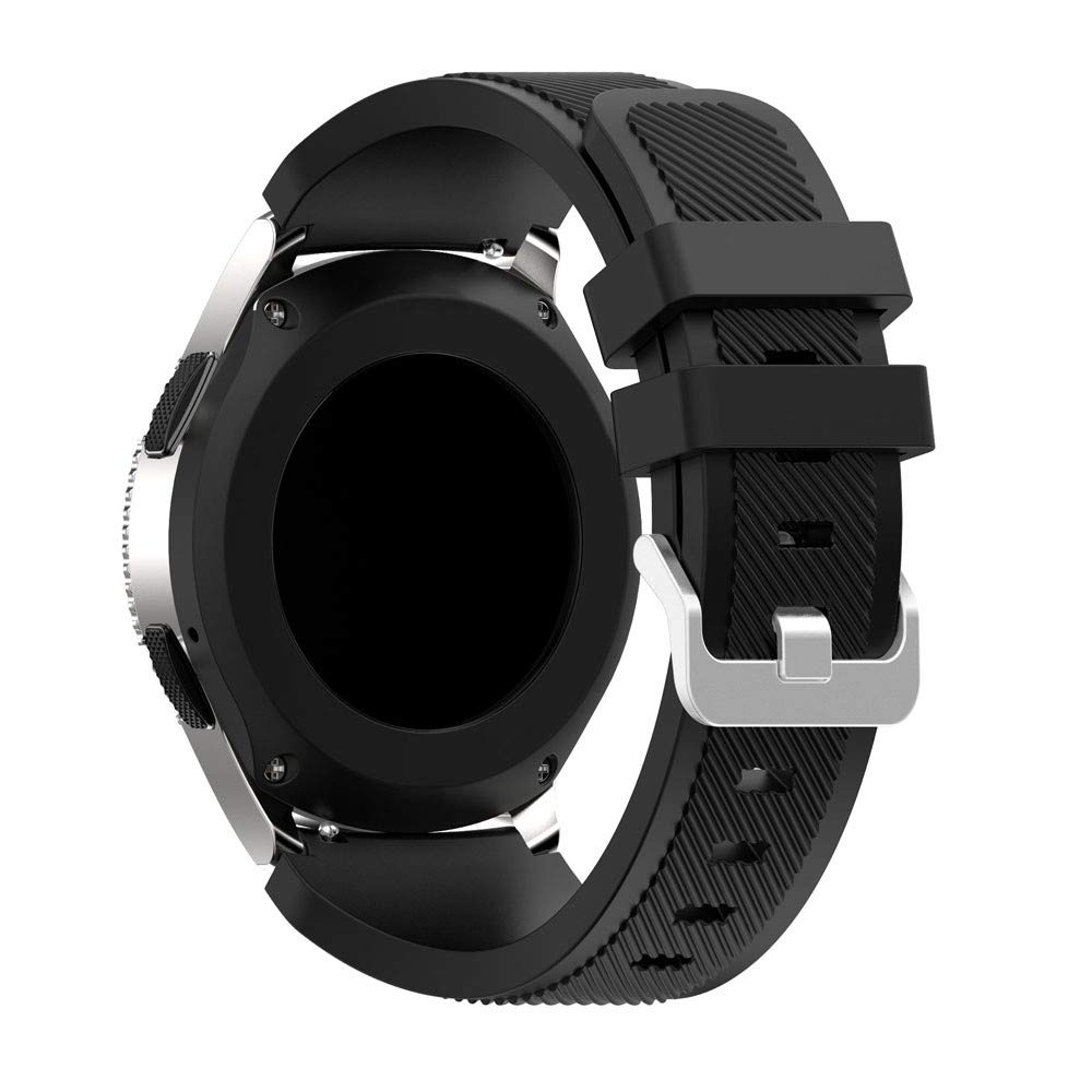 CSSD Soft Silica Gel Replacement Watch Strap Compatible for Samsung Galaxy Watch 46mm, Fashion Watch Accessories Solid Color Lightweight Bracelet Watch Strap Band for Women Men (46mm, Black) by CSSD (Image #4)