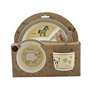 Beriwinkle Kids 5-Piece Meal Set, Durable Toddler Dinner Set, Eco-Friendly Bamboo Dishes, Food-Safe Feeding Set for Children, Boys and Girls