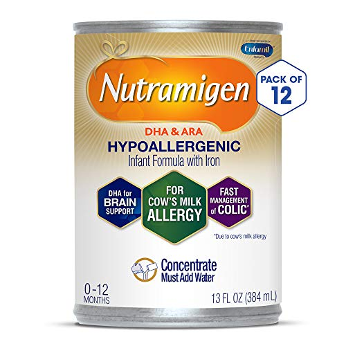 Enfamil Nutramigen Hypoallergenic Colic Baby Formula Lactose Free Concentrated Milk, 13 ounce (Pack of 12) - Omega 3 DHA, Probiotics, Iron, Immune Support