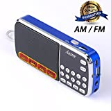 Aocome Portable Mini AM FM Radio Clear Speaker Music Player, Micro SD/TF Card Slot, USB Charging Cord, Rechargeable Li-ion battery, Earphone Jack (BM8 Blue)