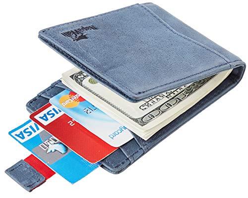 NapaWalli RFID Blocking Bifold Slim Genuine Leather Thin Minimalist Front Pocket Wallets for Men Money Clip Made from Full Grain Leather(vintage deep blue up)