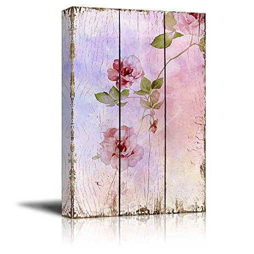 Pink Watercolor Flowers on a Delicate Background Over Wooden Panels Nature