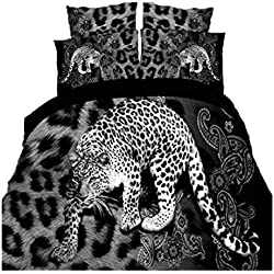 Leopard 4Pcs Animal Print Duvet Cover Comforter Queen Size Bedding Set