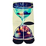 World hourglass Socks Colorful Patterned Custom Crew Socks Interesting Charming Socks Comfortable Socks Black