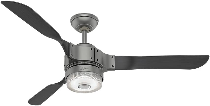 """Hunter Apache Indoor Wi-Fi Ceiling Fan with LED Light and Remote Control, 54"""", Matte Silver"""