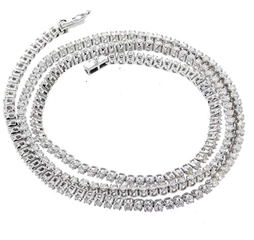 (Midwest Jewellery Diamond Chain Necklace Tennis Chain 10K White Gold 4.69ctw Diamond Necklace for Men or Women 22 Inch)
